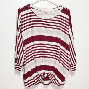 NWOT Pure+Good Red Cream Dolman Sleeve Knot Top